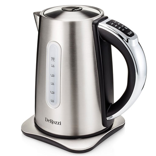 DeRozzi Stainless Steel Electric Kettle for Tea Water Pot with 6 Temperature Control Variable Heat Settings Cordless 1.7 Liter