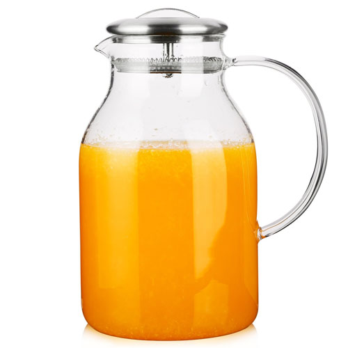 Hiware 68 Ounces Glass Pitcher with Lid and Spout - High Heat Resistance Stovetop Safe Pitcher