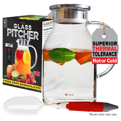 Glass Water Pitcher with TIGHT Lid 68 ounces, THICKER Heat Resistant Borosilicate Glass Carafe
