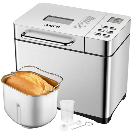 Aicok Programmable Bread Machine, 2.2LB Stainless Steel Bread Maker with Fruit and Nut Dispenser