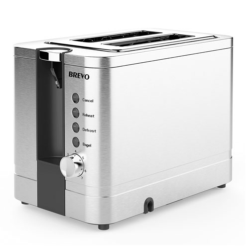 BREVO 2-Slice Extra Wide Slot Toaster for Bagel Breakfast with Reheat Brushed Stainless Steel