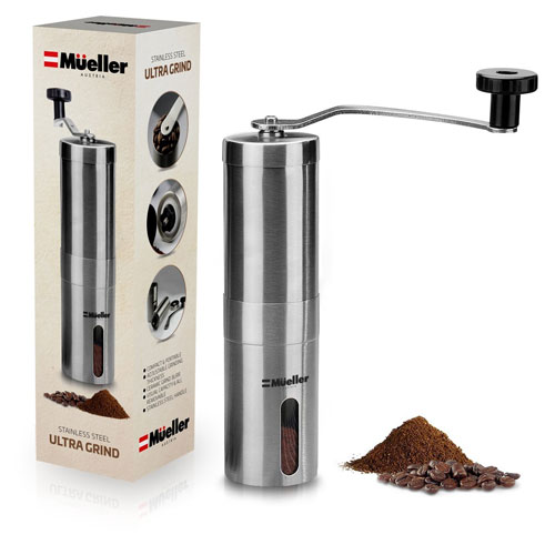 Mueller Ultra-Grind - Strongest and Heaviest Duty Portable Conical Burr Mill, Whole Bean Manual Coffee Grinder
