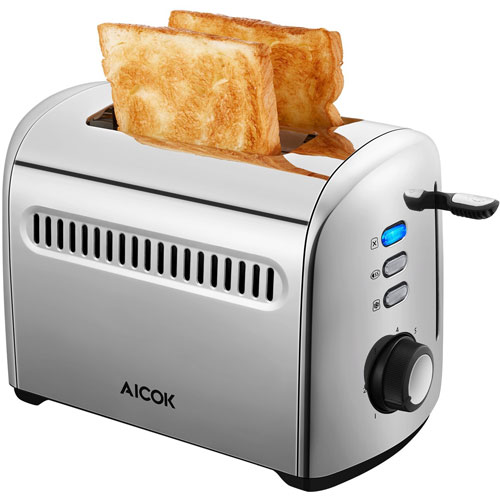 Aicok 2-Slice Toaster, Stainless Steel Toaster with Removable Crumb Shade Selectors, 850W, Silver