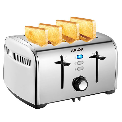 Aicok Toaster, 4-Slice Toaster with 7 Browning Control, Defrost/Bagel/Cancel Function Toaster