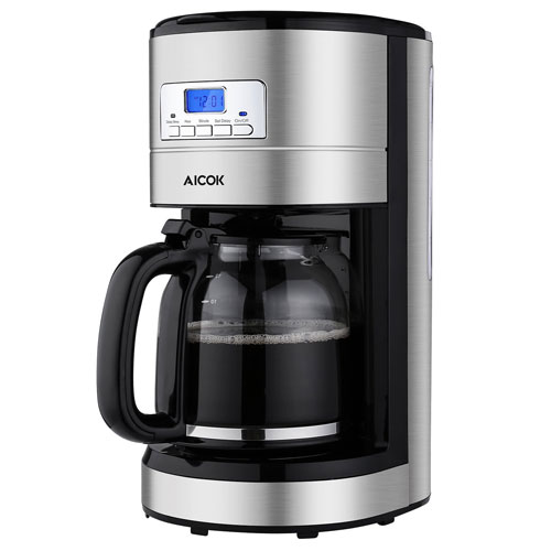 Aicok Coffee Maker 12 Cups, Programmable Coffee Maker with Timer, Coffee Pot, and Reusable Filter, Stainless Steel