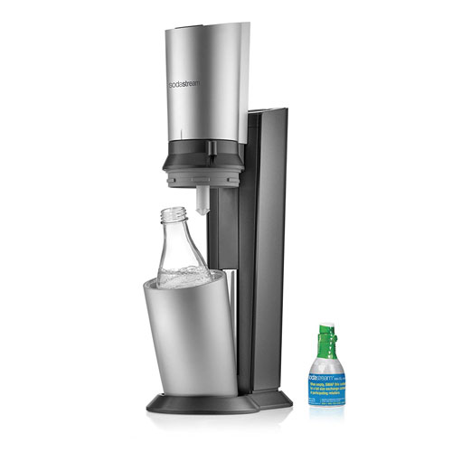 SodaStream Crystal Sparkling Water Maker Starter Kit, Black and Silver