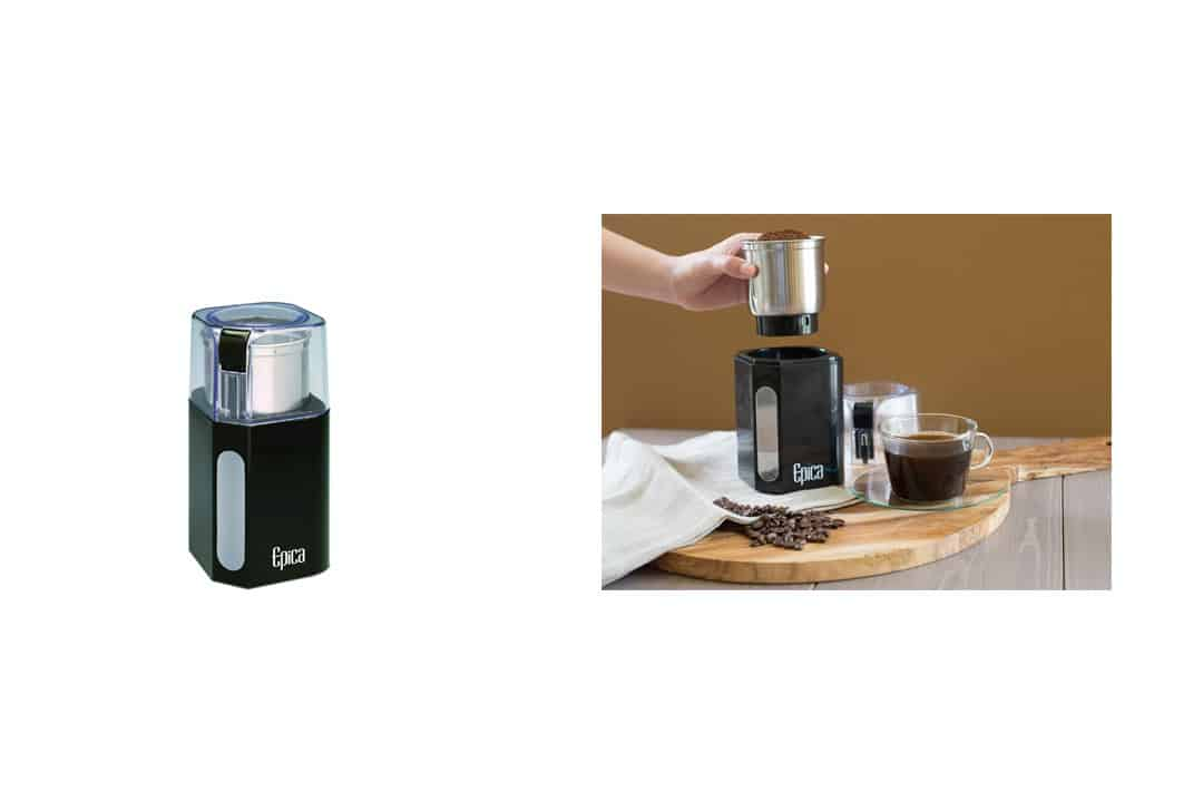 Epica Electric Coffee Grinder & Spice Grinder -Stainless Steel Blades and Removable Grinding Cup