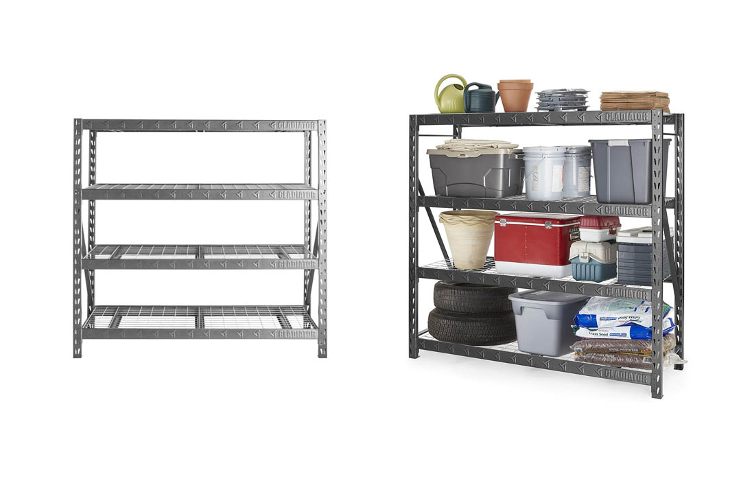 "Gladiator GARS774XEG 77"" Wide Heavy Duty Rack with Four 24"" Deep Shelves, Hammered Granite"