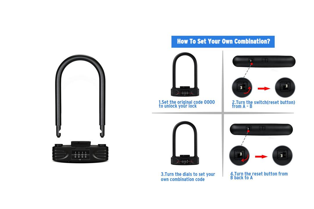 Heavy Duty Combination Bike U Lock, Amazer 12mm Bike Lock Bicycle Heavy Duty Combination U Lock Bike Lock Anti Theft