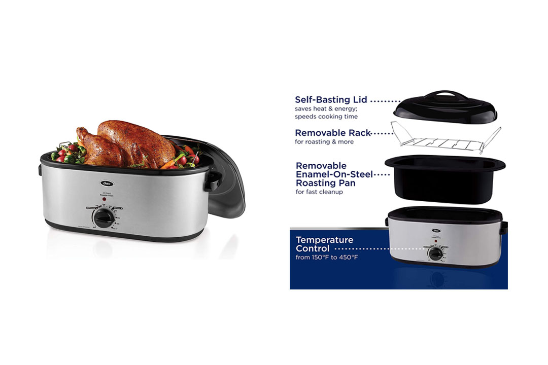 Oster 22-Quart Roaster Oven with Self-Basting Lid and Defrost Setting, Stainless Steel
