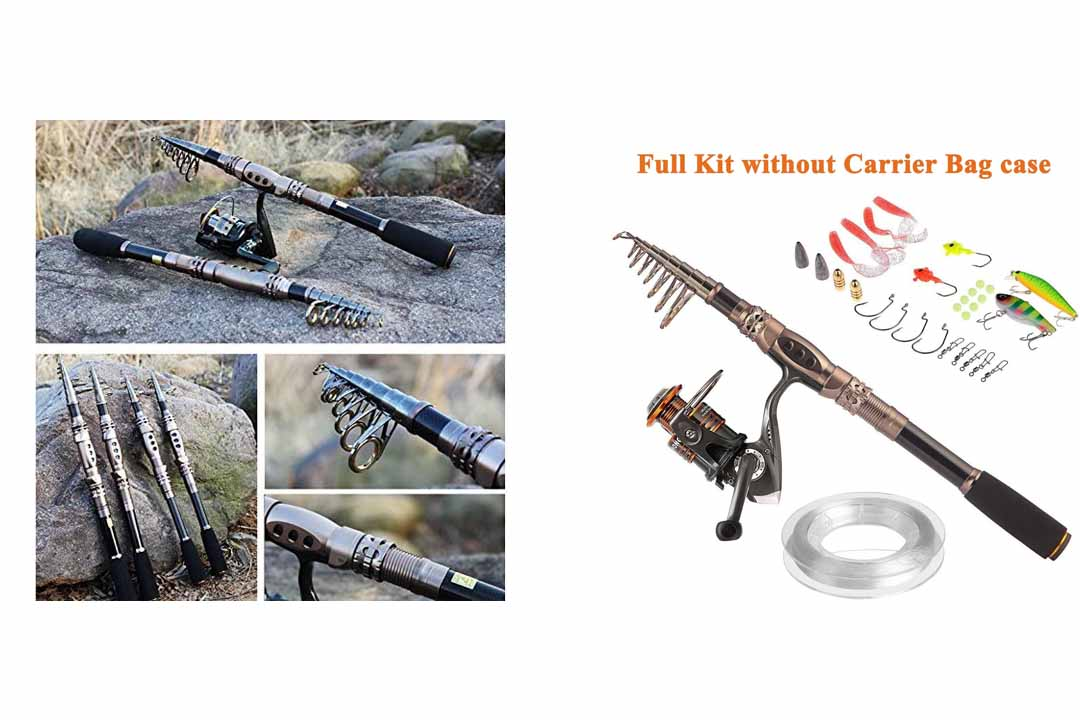 PLUSSINNO Spin Spinning Rod and Reel Combos Carbon Telescopic Fishing Rod