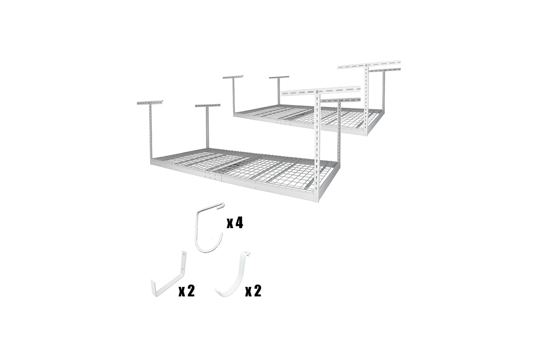 "SafeRacks 4x8 - 2 Rack Package w/Accessory Hooks 18-33"" Drop, White"