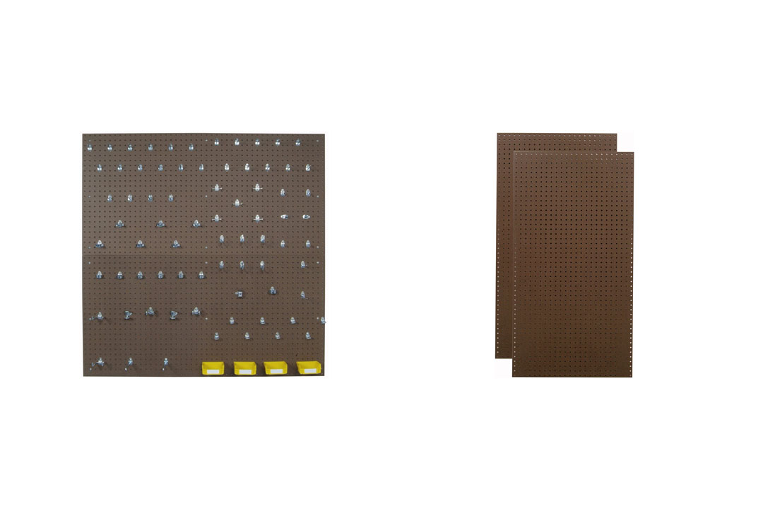 Triton Products TPB2-83 Two Tempered Wood Pegboards DuraHook Assortment with Mounting Hardware and Storage Bins