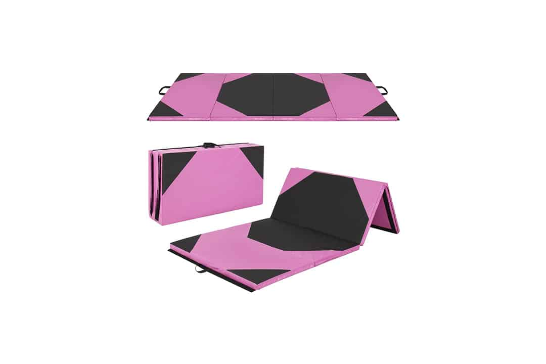 "4' x 8' x 2"" PU Leather Gymnastics Tumbling / Martial Arts Folding Mat - Pink"