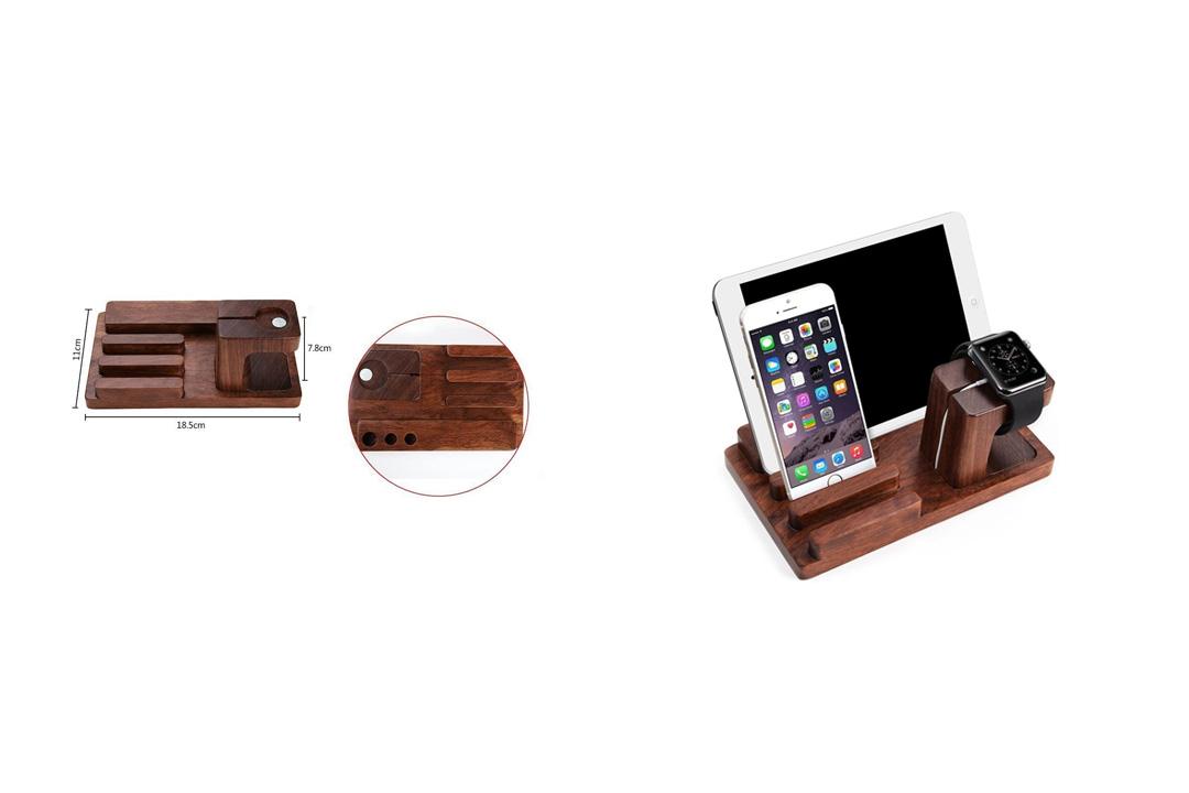 Apple Watch iPad iPhone Wooden Stand, Feitenn Bamboo Wood Charging Stand