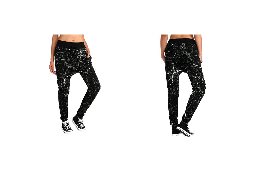 BAISHENGGT Women's Drop Crotch Hip Hop Jogger Harem Pants