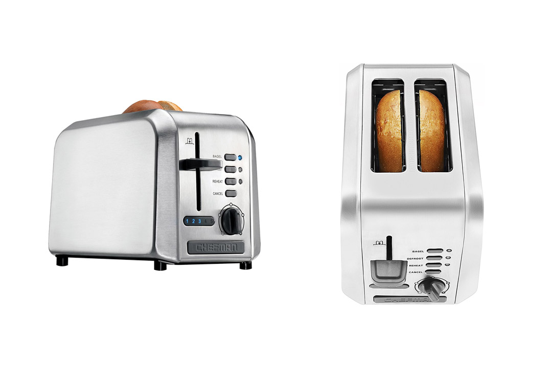 Chefman 2-Slice Stainless Steel Wide Slot Toaster Defrost w/ 5 Shade Settings Quickly Toasts
