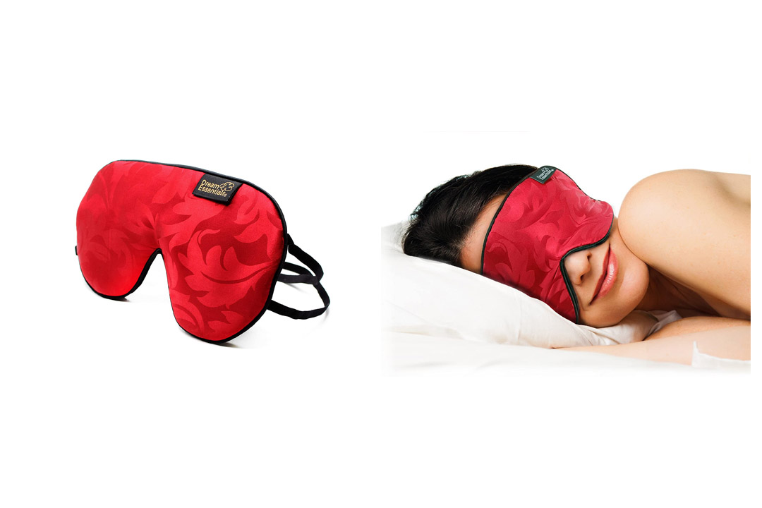 Dream Essentials Soft Silk Sleep Mask for Side Sleepers (Red)