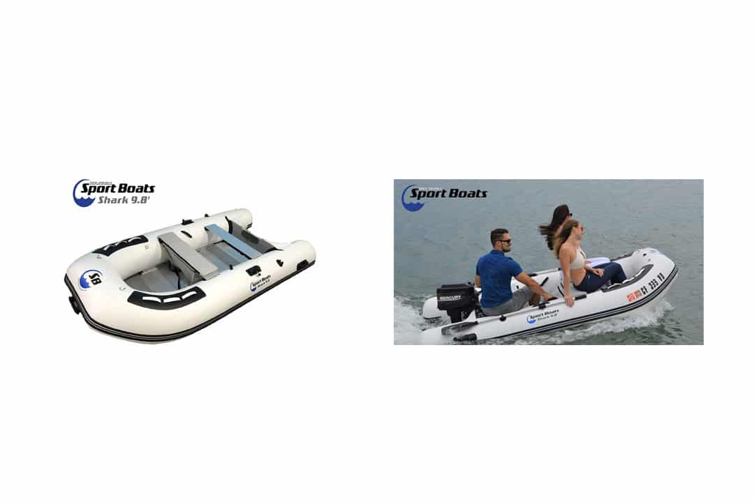 Inflatable Sport Boats Shark 9.8' - Model 300 - Aluminum Floor Dinghy with Seat Bag