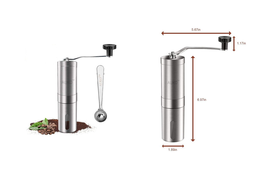 Manual Coffee Grinder Stainless Steel Coffee Bean Grinder Ceramic Conical Burr Hand Crank Mill with Spoon AUKO