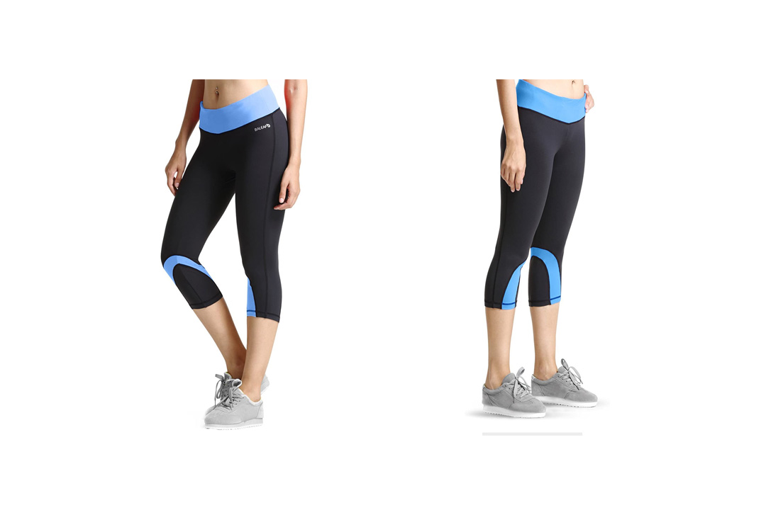 Baleaf Women's Yoga Running Capri Legging with Hidden Pockets