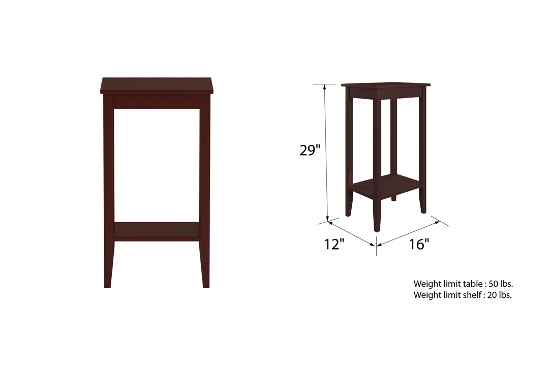 DHP Rosewood Tall End Table, Simple Design