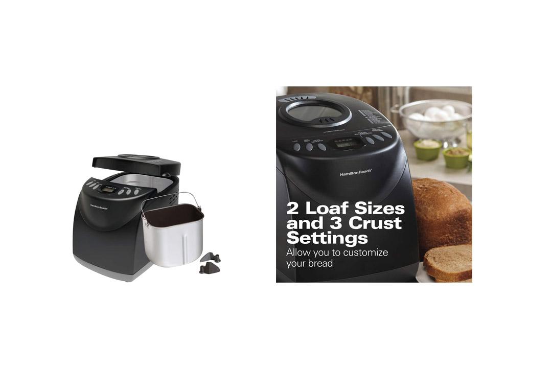Hamilton Beach Programmable Bread Machine, 2-Pound Bread Maker with Gluten-Free Setting (29882)