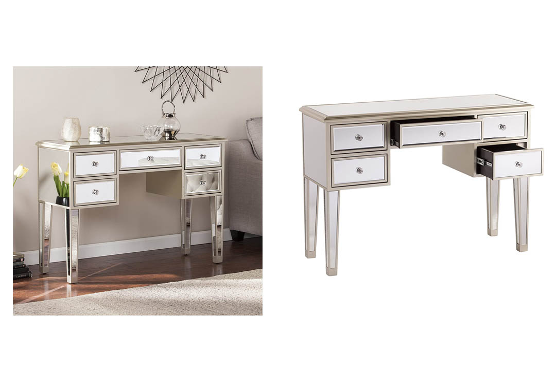 Mirage Glam Mirrored Console/Desk - Champagne