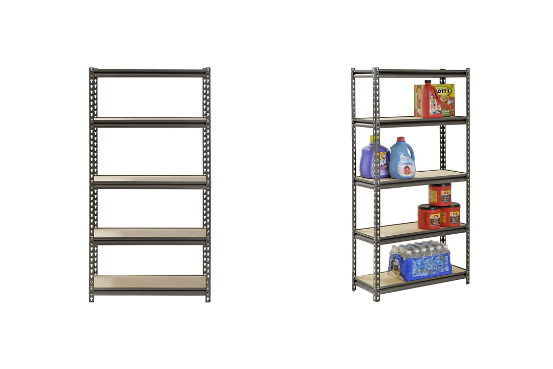 Muscle Rack UR301260PB5P-SV Silver Vein Steel Storage Rack, 5 Adjustable Shelves