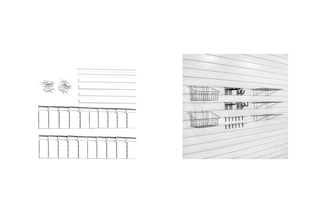 Proslat 33009 Ultimate Slat Wall Bundle with Slat Wall Panels, Hook Kit, Shelf, and Basket Kit