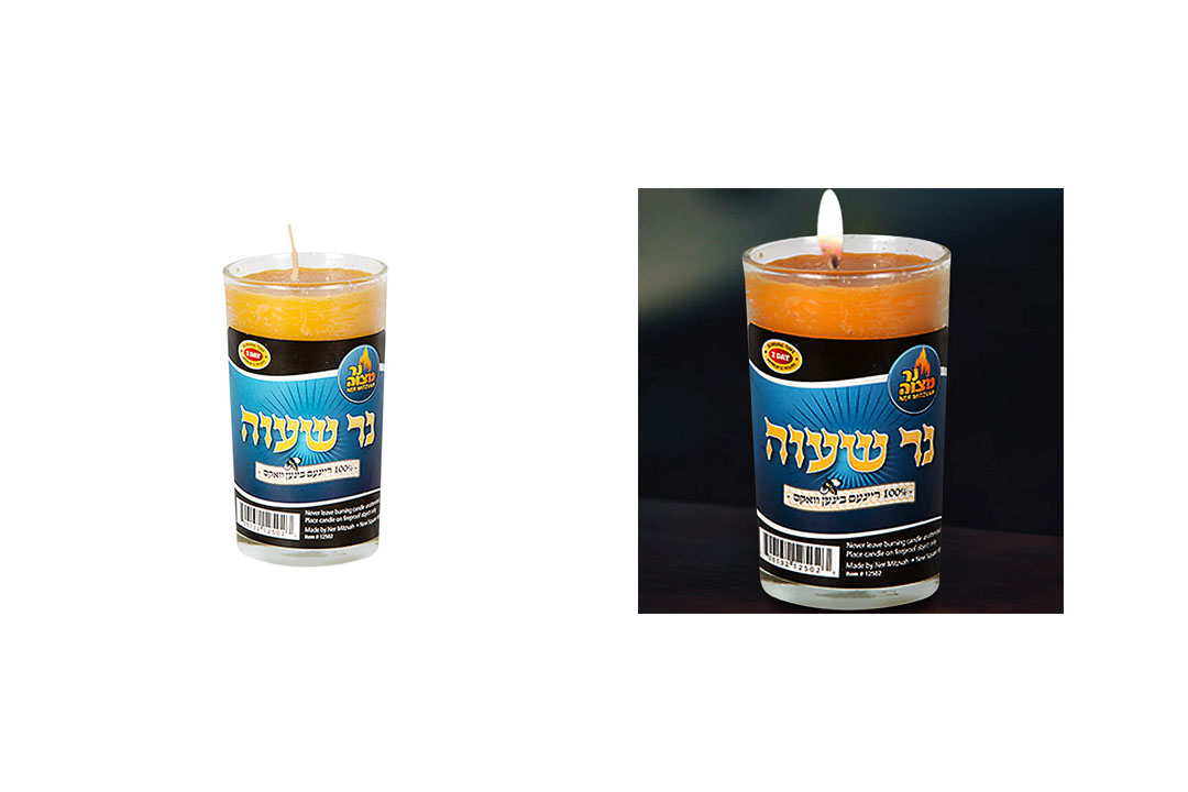 7 Day Beeswax Yahrtzeit Candle - 72 Hour Kosher Memorial and Yom Kippur Candle