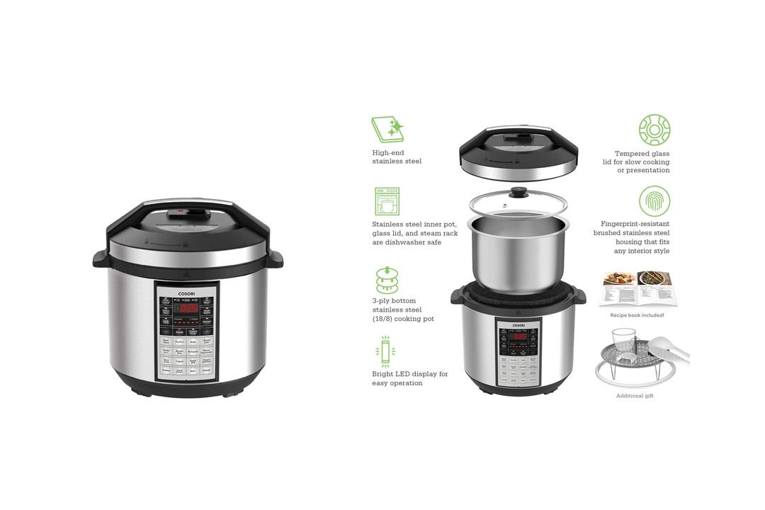 COSORI 6 Qt Premium 8-in-1 Programmable Multi-Cooker Pressure Cooker, Rice Cooker
