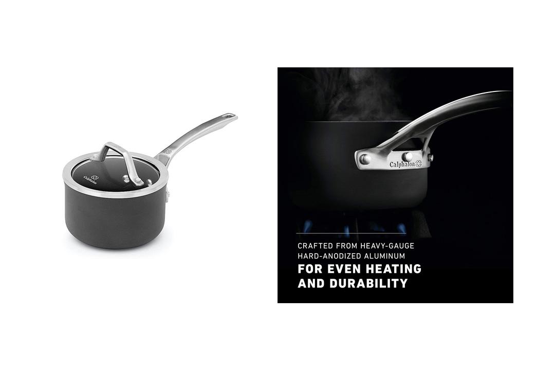 Calphalon 1948251 Signature Hard Anodized Nonstick Covered Sauce Pan, 1 quart, Black