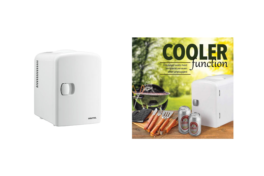 Gourmia GMF600 Portable 6 Can Mini Fridge Cooler and Warmer for Home, Office, Car or Boat