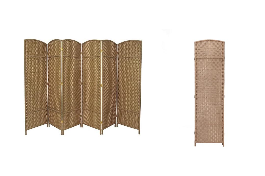 RHF 6 ft. Wide-Diamond Weave Fiber Room Divider