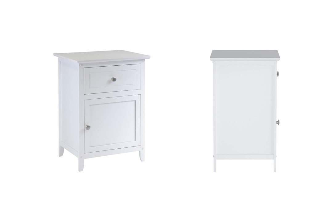 Winsome Wood Table with Drawer and cabinet for storage, White