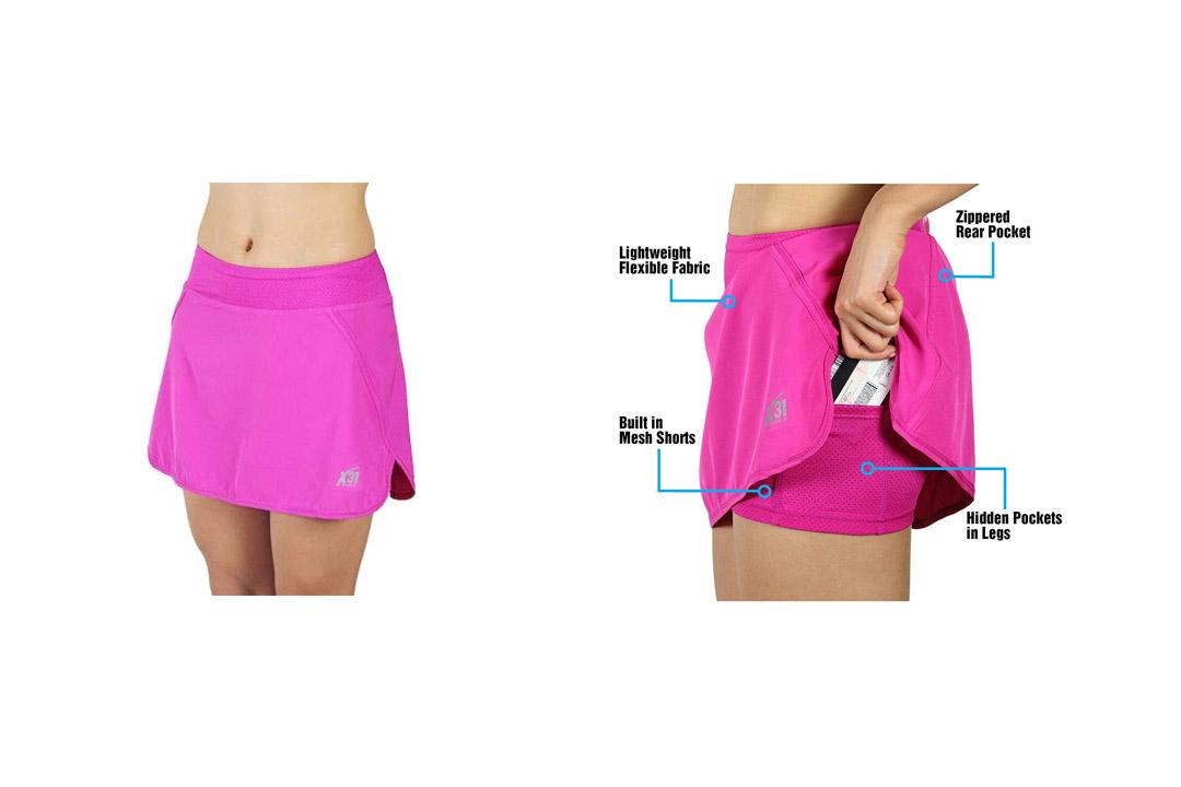 X31 Sports Running Skirt, Tennis Skort with Mesh Shorts and Zipper Pocket for Workout, Golf, Gym