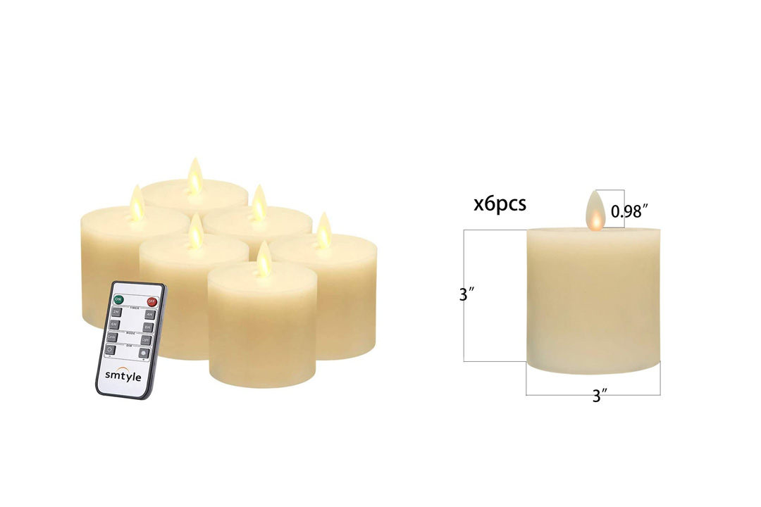 smtyle Flameless Candles set of 3 piece with Remote and Moving Wick 3 inch with Timer Battery Operated Flickering LED Pillar Candle,Ivory Flat Top