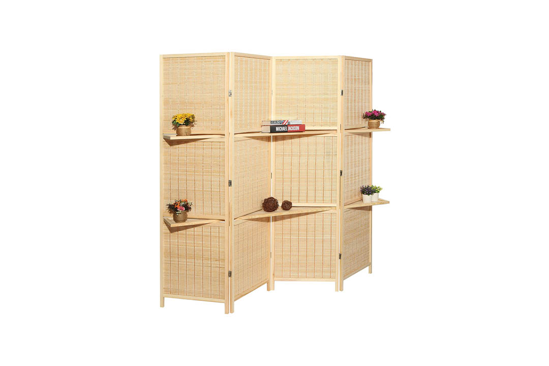 Deluxe Woven Beige Bamboo Folding Room Divider Screen
