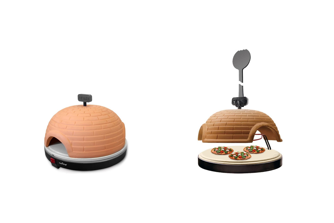 NutriChef PKPZ950 - Artisan Electric Pizza Oven with Brick Housing and Crisping Stone