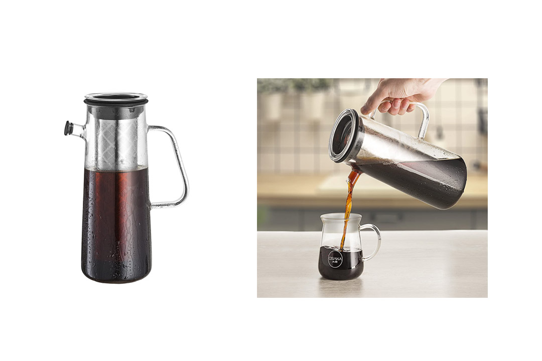 Osaka Glass Cold Brew Coffee Maker with Airtight Seal, 1L / 34oz Pitcher with Removable Stainless Steel Filter