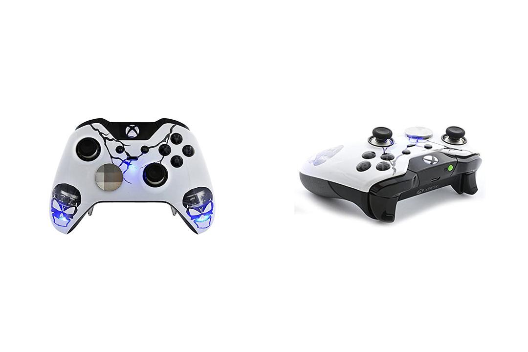 """""""Skull Blue"""" Xbox One ELITE Rapid Fire Custom Modded Controller 40 Mods"""