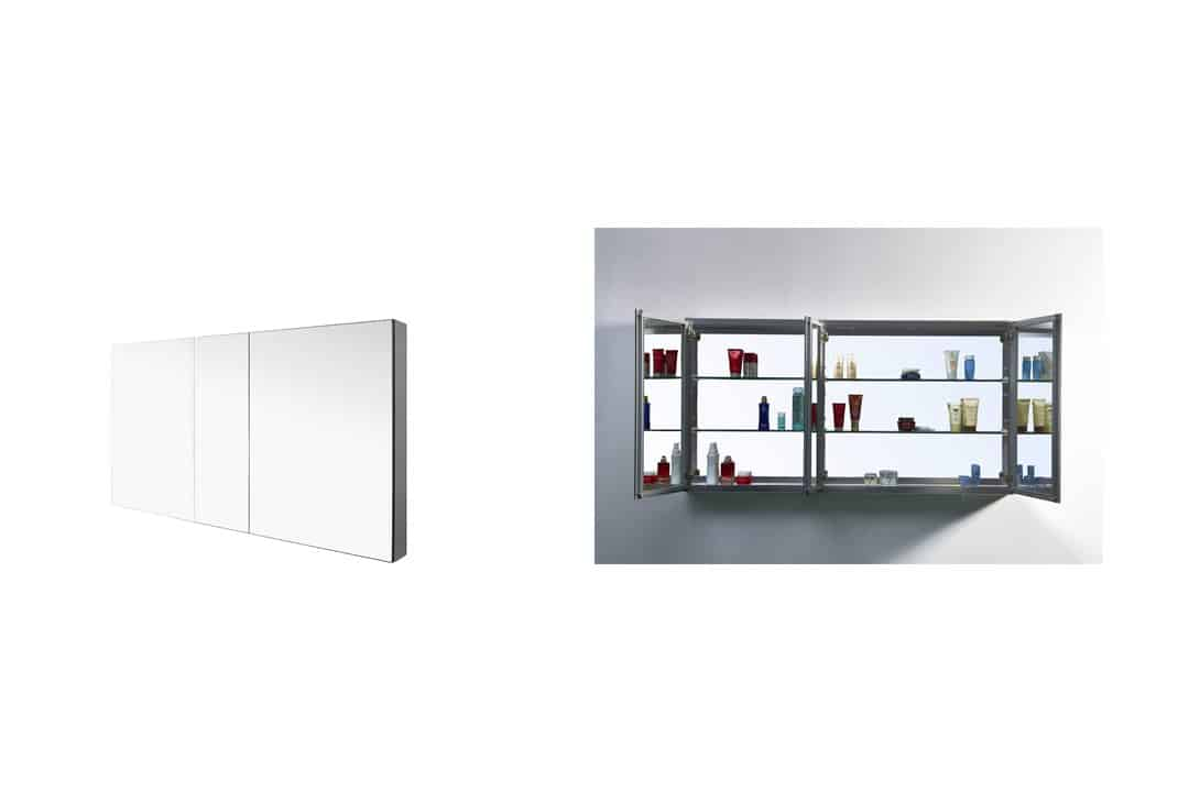 Virtu J-MED01A50 Confiant Mirrored Medicine Cabinet Recessed or Surface Mount, 50""