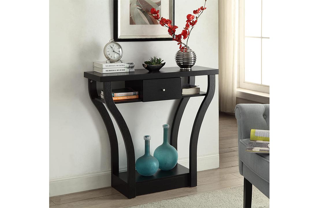 Black Finish Curved Sofa Entry Hall Table with Shelf / Drawer