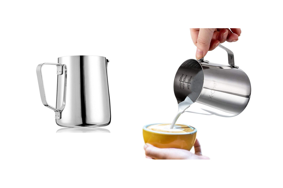 Frothing Pitcher, X-Chef Stainless Steel Milk Pitcher 10 oz
