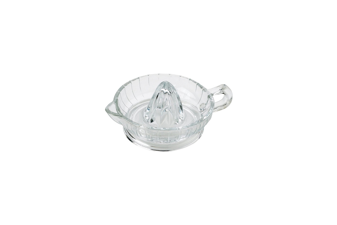 HIC Citrus Juicer Reamer with Handle and Pour Spout, Heavyweight Glass
