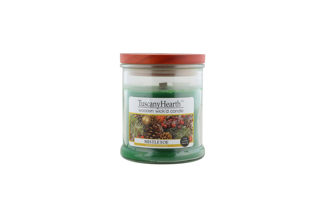 TuscanyHearth Wooden Wick'd Scented Candle, Holiday Mistletoe, 10 oz