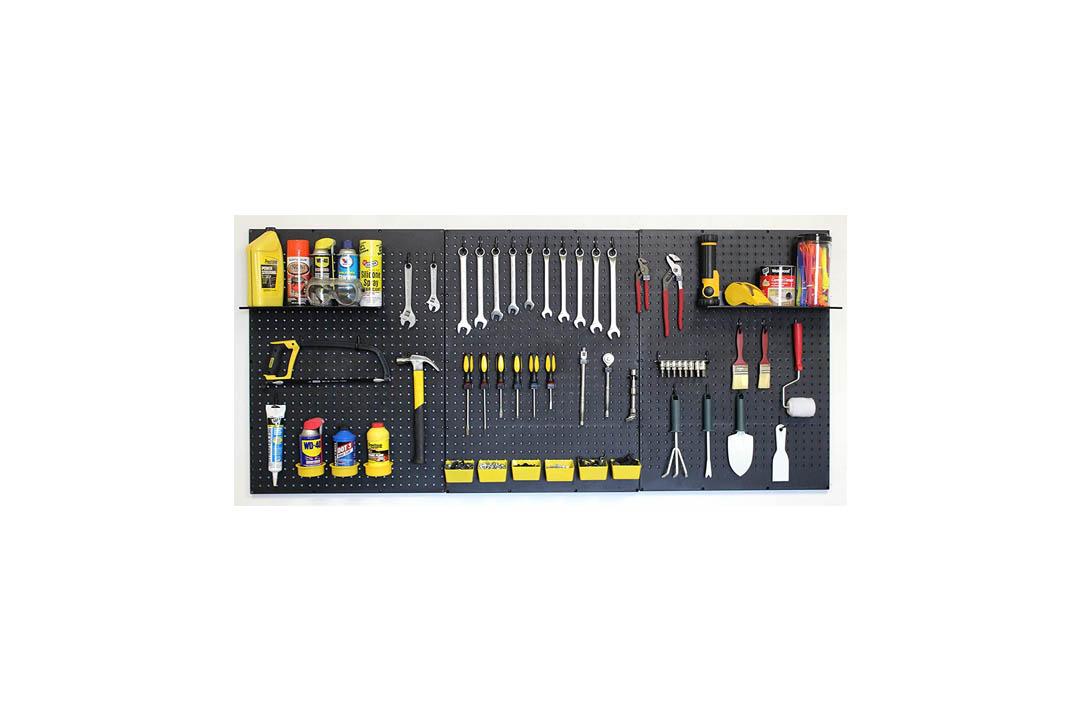 WallPeg Garage Tool Storage Kit Shelves, Part Bins, and Locking Peg Hooks