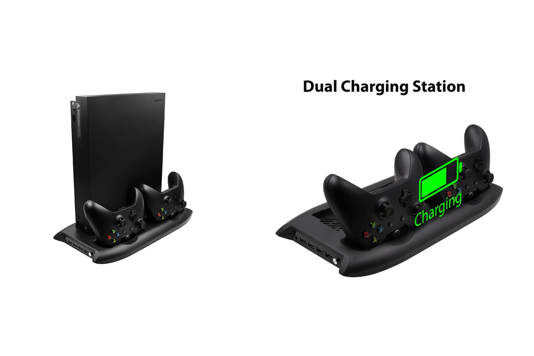 Xbox One X Cooling Fan Rayvol Vertical Stand Cooler Controller Charging Station