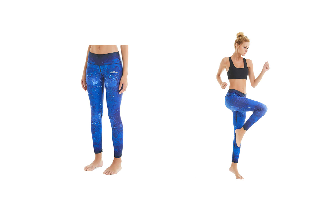 COOLOMG Women's Yoga Running Pants Printed Compression Leggings Workout Tights Hidden Pocke